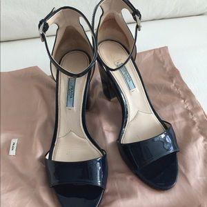 Prada patent sandals. Dark blue, excellent cond.